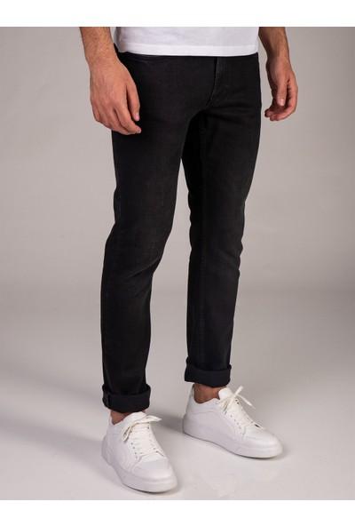 Dufy Siyah Düz Erkek Kot Pantolon - Slim Fit