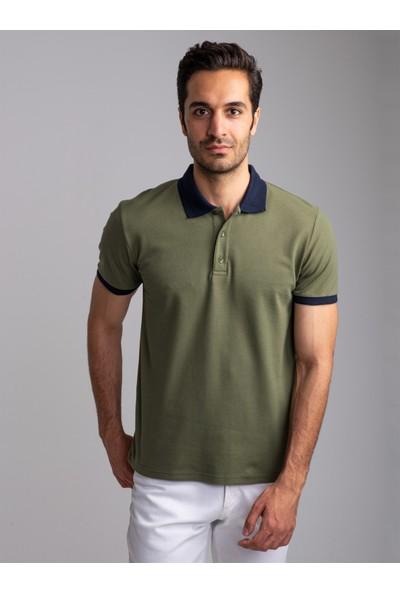 Dufy Yeşil Polo Yaka Düz Erkek T-Shirt - Slim Fıt