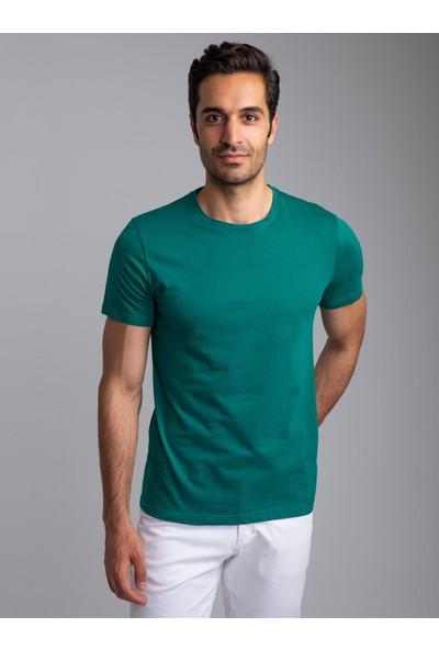 Dufy Zümrüt Yeşili Bisiklet Yaka Düz Erkek T-Shirt - Slim Fıt