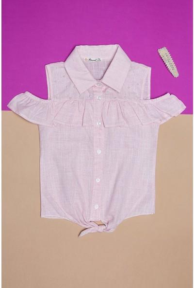 Fullamoda Kız Çocuk Incili Düğmeli Gömlek