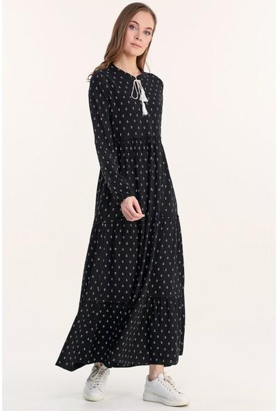 Fullamoda Kadın Çapa Baskılı Uzun Elbise
