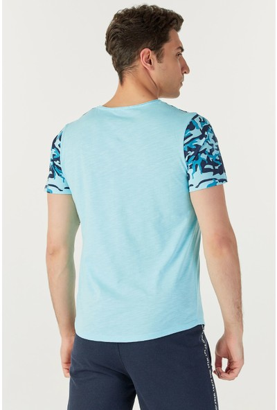 Fullamoda Erkek Kamuflaj Desenli Basic Tshirt