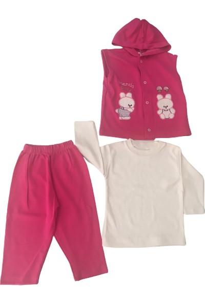 Özkaplan Ayıcıklı 3lü Kız Bebek Takım - Fuşya - 9 Sy