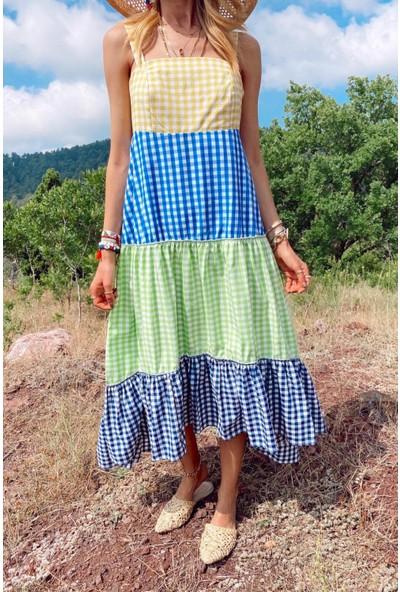 No33 Kadın Renkli Pütü Kare Katlı Elbise
