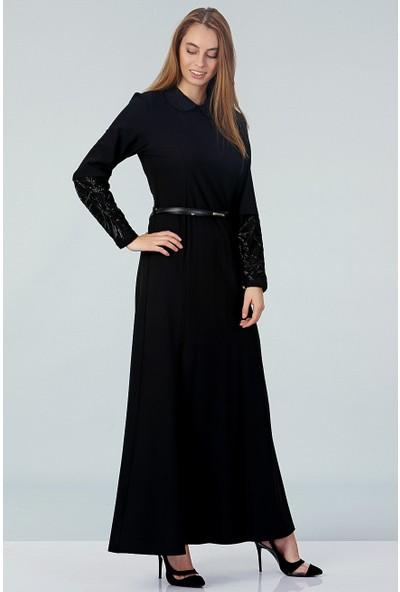 Repp Bebe Yaka Abiye Elbise - Siyah