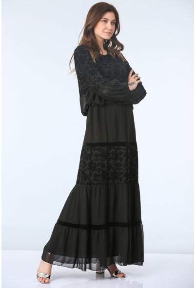 Repp Belden Büzgülü Abiye Elbise - Siyah