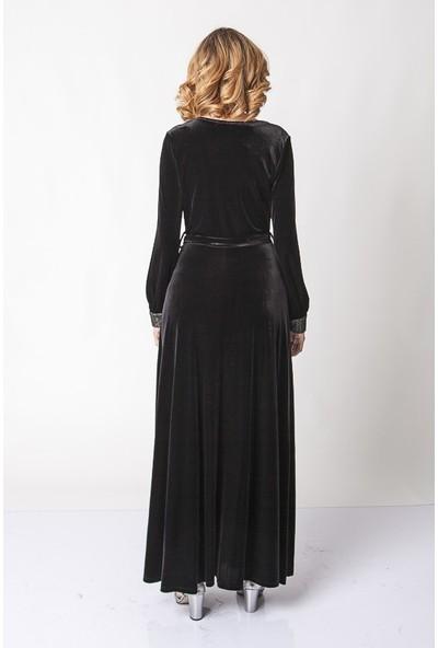 Repp Belden Kuşaklı Dantel Işlemeli Kadife Elbise - Siyah