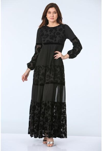 Repp Çiçek Desenli Abiye Elbise - Siyah
