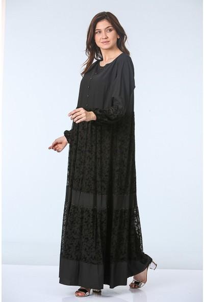 Repp Dantel Desenli Abiye Elbise - Siyah