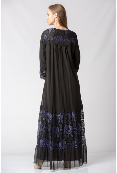 Repp Dantel Desenli Taşlı Abiye Elbise - Lacivert