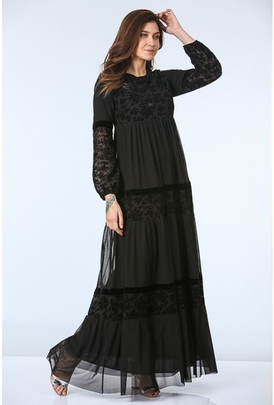 Repp Dantel Desenli Taşlı Abiye Elbise - Siyah