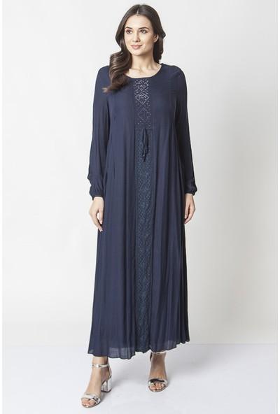 Repp Dantel Detaylı Taş Işlemeli Abiye Elbise - Lacivert