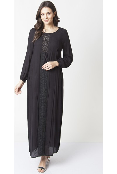 Repp Dantel Detaylı Taş Işlemeli Abiye Elbise - Siyah