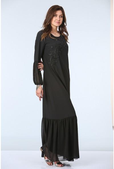 Repp Dantel Işlemeli Abiye Elbise - Siyah