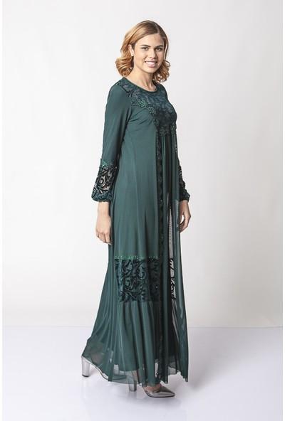 Repp Dantel Şeritli Işlemeli Abiye Elbise - Yeşil
