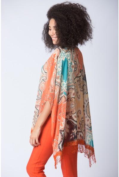 Repp Desenli Kimono - Turuncu