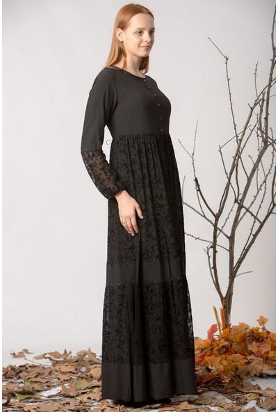 Repp Flok Baskılı Abiye Tül Elbise - Siyah