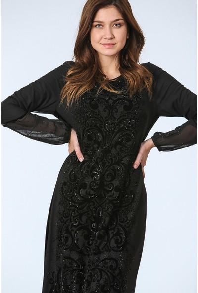 Repp Işleme Detaylı Abiye Elbise - Siyah