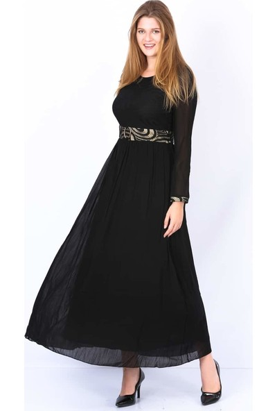 Repp Kendinden Kemerli Abiye Elbise - Siyah