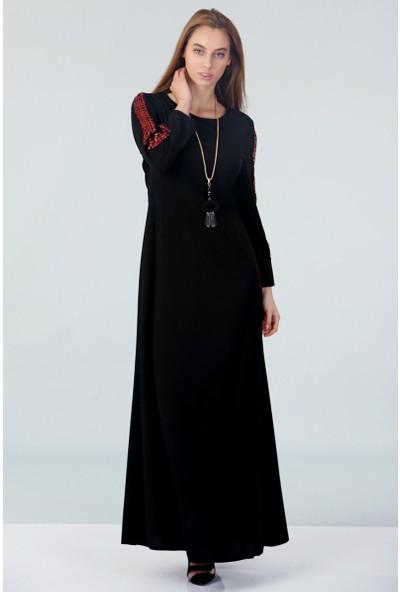 Repp Kolları Payetli Abiye Elbise - Siyah-Kırmızı