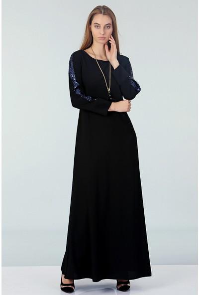 Repp Kolları Payetli Abiye Elbise - Siyah-Mavi