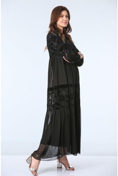 Repp Kolları Tül Detaylı Abiye Elbise - Siyah