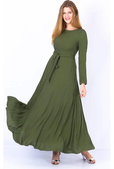 Repp Kuşaklı Kloş Elbise - Haki