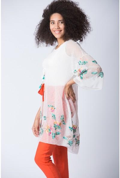Repp Nakış Işlemeli Kimono - Beyaz