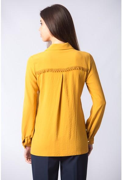 Repp Önü Düğmeli Kolları Dantel Detaylı Tunik - Sarı