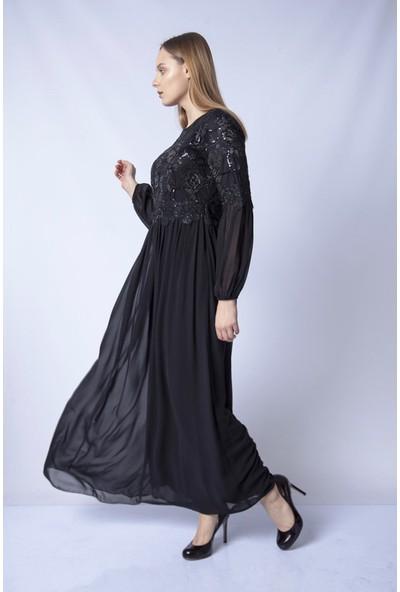 Repp Payet Işlemeli Abiye Elbise - Siyah