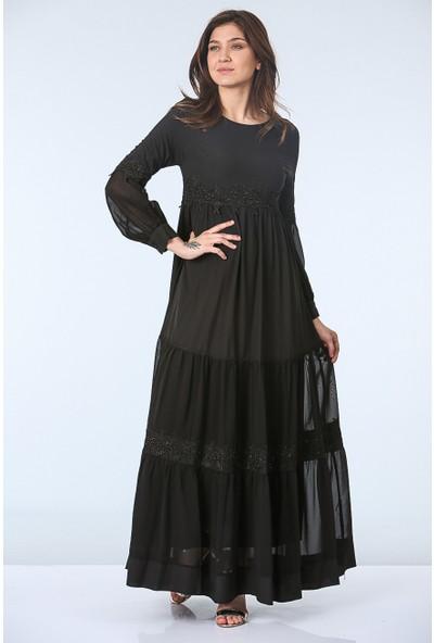 Repp Şerit Dantel Detaylı Abiye Elbise - Siyah