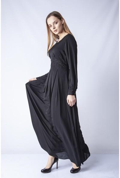 Repp Taş Işlemeli Abiye Elbise - Siyah