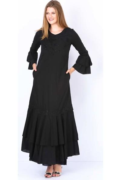 Repp Volan Kollu Abiye Elbise - Siyah