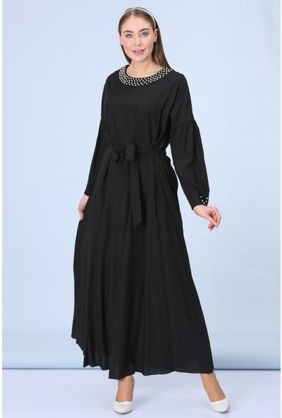 Repp Yakası Inci Işlemeli Elbise - Siyah