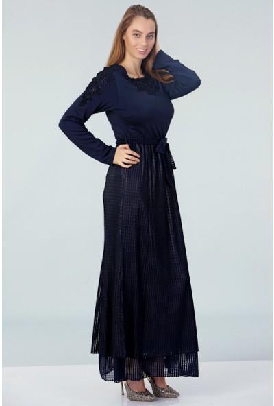 Repp Yakası Işlemeli Abiye Elbise - Lacivert