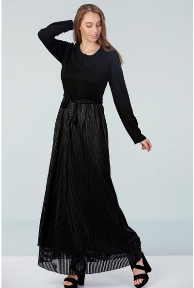 Repp Yakası Işlemeli Abiye Elbise - Siyah