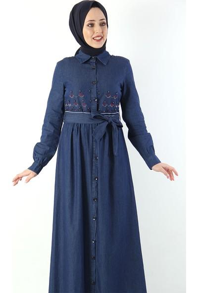 Tesettür Dünyası Nakışlı Tesettür Kot Elbise Tsd4098 Koyu Mavi