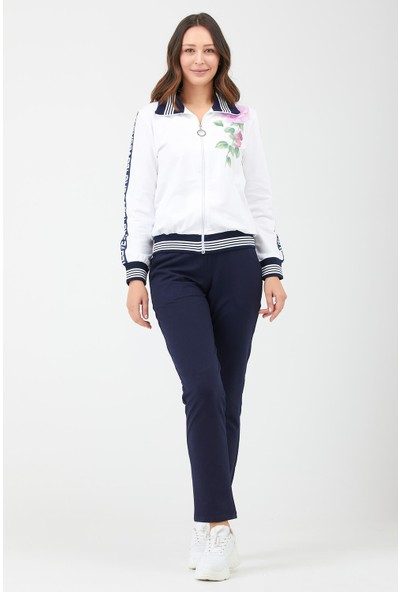 Sementa Çiçek Baskılı Fermuarlı Kadın Eşofman Takımı - Beyaz - Lacivert