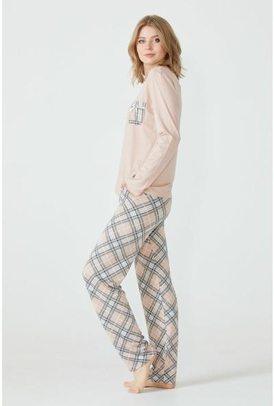 Sementa Ekose Desenli Cepli Kadın Pijama Takımı - Pudra