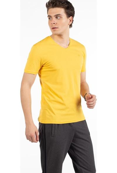 Bysorex Bisiklet Yaka T-Shirt- Sari