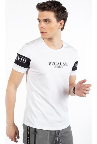 Bysorex O Yaka Kolu Baskili T-Shirt- Beyaz