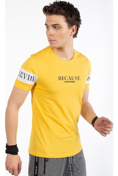 Bysorex O Yaka Kolu Baskili T-Shirt- Sari