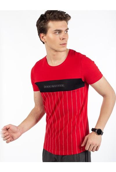 Bysorex O Yaka Break Baskili T-Shirt- Kirmizi