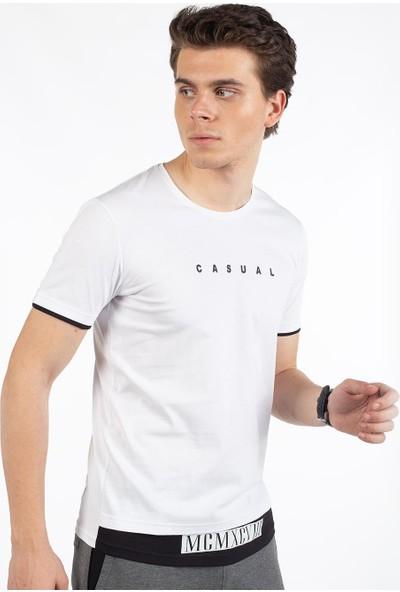 Bysorex O Yaka Mcmxcv Baskili T-Shirt- Beyaz