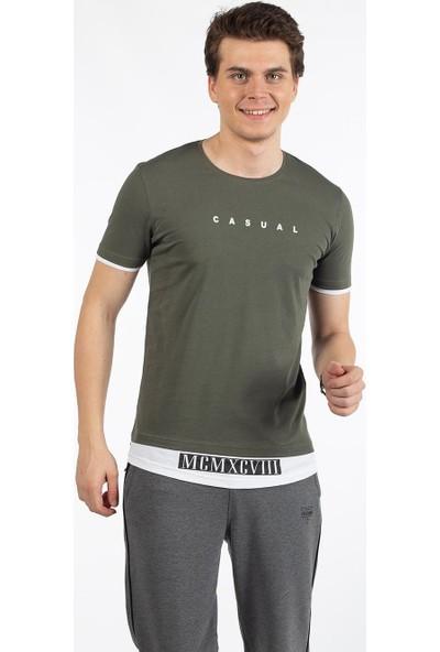 Bysorex O Yaka Mcmxcv Baskili T-Shirt- Haki