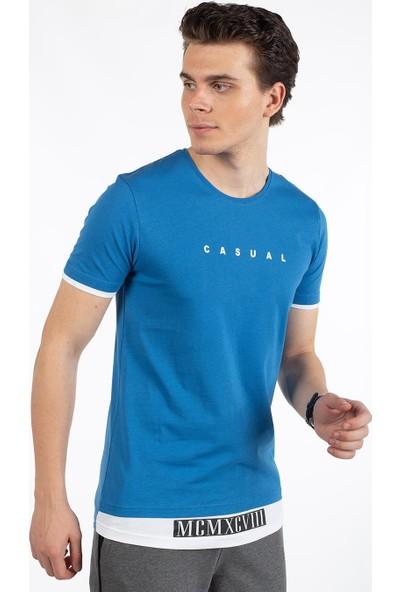 Bysorex O Yaka Mcmxcv Baskili T-Shirt- Mavi