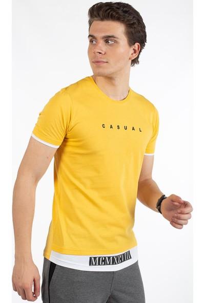 Bysorex O Yaka Mcmxcv Baskili T-Shirt- Sari