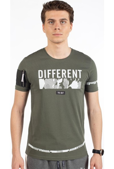 Bysorex O Yaka Different Baskili T-Shirt- Haki