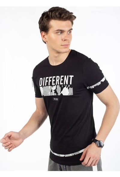 Bysorex O Yaka Different Baskili T-Shirt- Siyah
