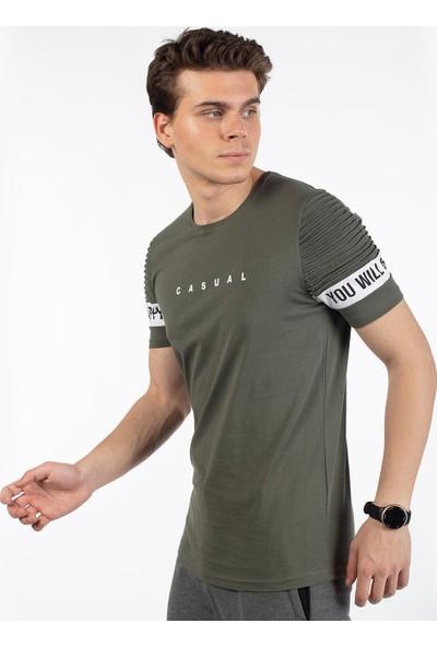 Bysorex O Yaka Casual Baskili T-Shirt- Haki